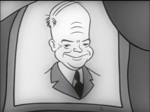 animation zoom out portrait of eisenhower on marching elephant with drum banner / tv commercial - anno 1952 video stock e b–roll