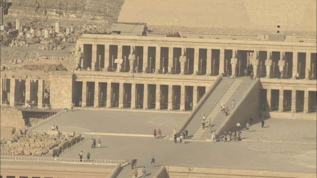 zoom out shot of mortuary temple of queen hatshepsut - palestinian territories stock videos and b-roll footage
