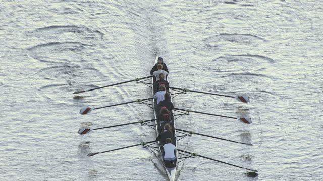 vídeos y material grabado en eventos de stock de zoom out shot of women sculling crew rowing on charles river, cambridge, massachusetts, united states of america - remo con espadilla