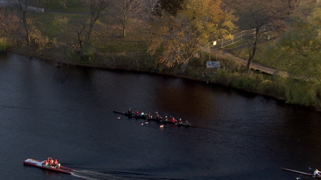 zoom out shot of women sculling crew rowing on charles river, cambridge, massachusetts, united states of america - river charles stock videos & royalty-free footage