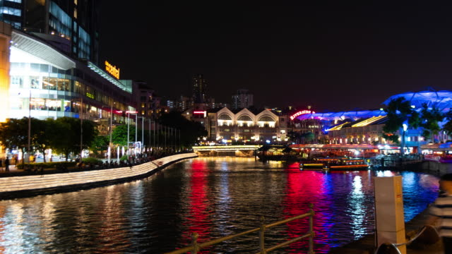 zoom out time lapse clarke quay riverbank night - singapore stock videos & royalty-free footage