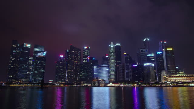 zoom out timelapse marina bay singapore cityscape - river singapore stock videos & royalty-free footage