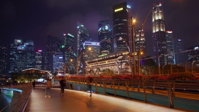 zoom out timelapse of skyline of central business district in singapore - singapore river stock videos & royalty-free footage