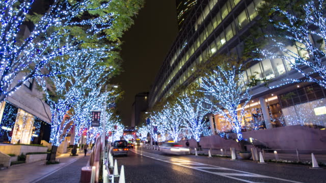 4k zoom out time-lapse:keyakizaka street at roppongi in tokyo , japan - roppongi stock videos and b-roll footage