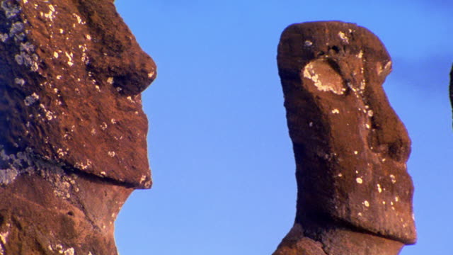 zoom out to wide shot seven stone Moai statues on Easter Island / South Pacific