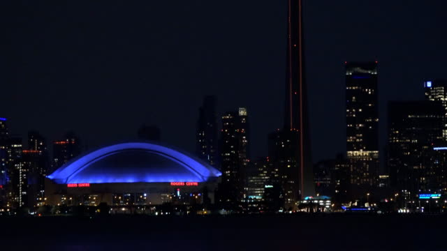 zoom out, toronto skyline scenes taken from center island - 2014 stock videos and b-roll footage