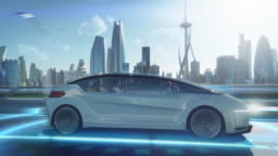 Zoom Out View of an Attractive Senior Female Reading the News on a Futuristic Augmented Reality Interface while Talking to Another Passenger. They are Riding in an Autonomous Self-Driving Car.