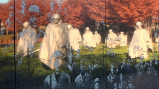 Zoom shot of the Korean War Veterans Memorial wall in Washington DC