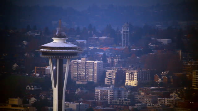 zoomed view looking at the top of the space needle with vignette. - vignette stock videos & royalty-free footage