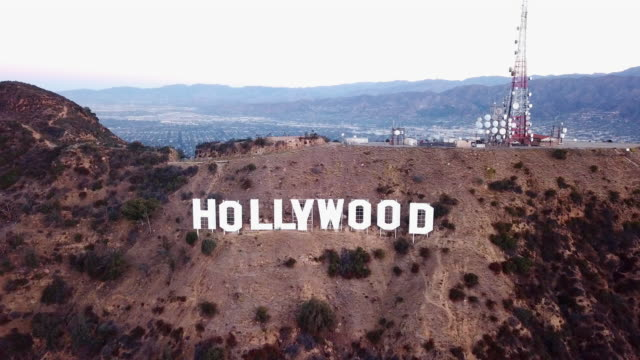 Zoom-in Aerial of the Big Iconic Hollywood Sign