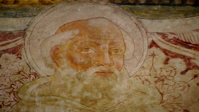 zoom-in of the fresco of saint maron at the church of saint maron in volperino. during the crusades the relics of saint maron, founder of the... - the crusades stock videos & royalty-free footage