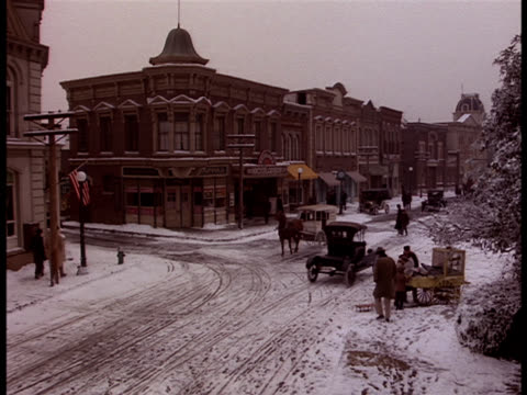 zoom-in on a snowy main street in albany, new york at the turn of the century. - albany new york state stock videos & royalty-free footage