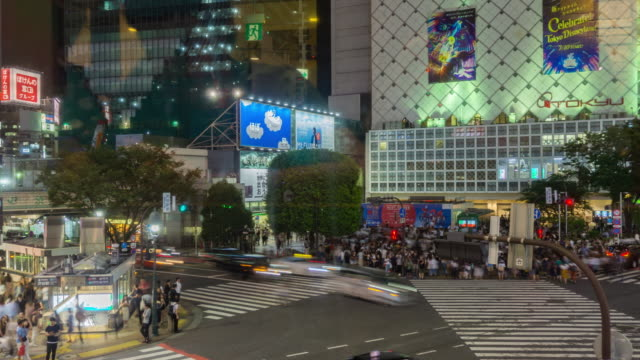 4k zoomin time lapse aerial view of shibuya crossing in tokyo , japan . - shibuya station stock videos and b-roll footage