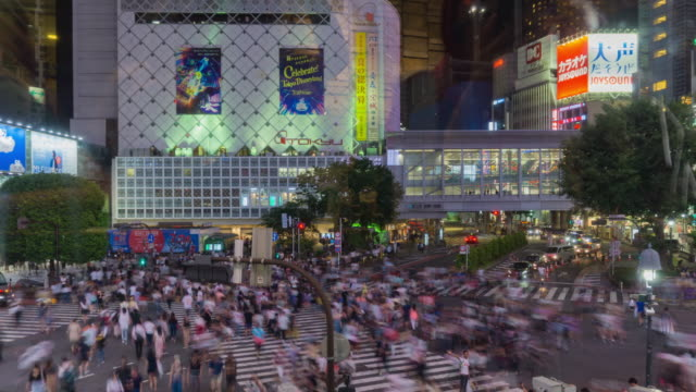 4k zoomin time lapse aerial view of shibuya crossing in tokyo , japan . - religious cross stock videos & royalty-free footage