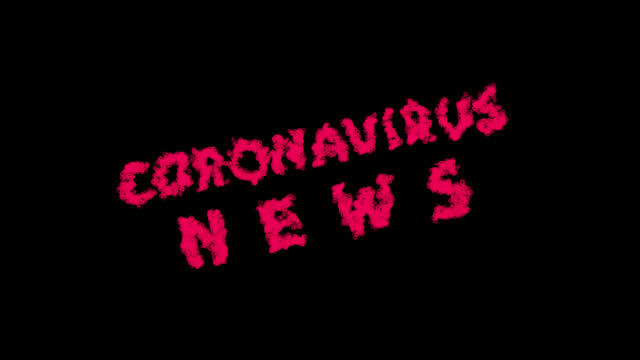 coronavirus news - zoom-in to words formed from virus cells spreading out. video contains alpha channel. - channel 4 news stock videos & royalty-free footage