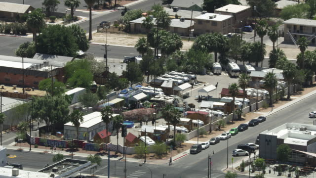 zooming in shot of airstream park in las vegas - valley stock videos & royalty-free footage
