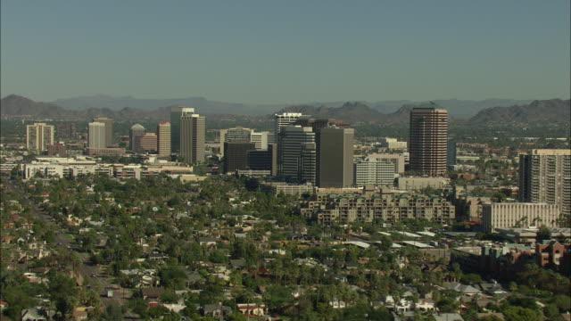 Zooming in shot of high-rise buildings in Phoenix