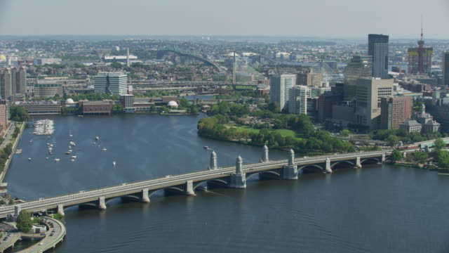 zooming in shot of the longfellow bridge - massachusetts stock videos & royalty-free footage