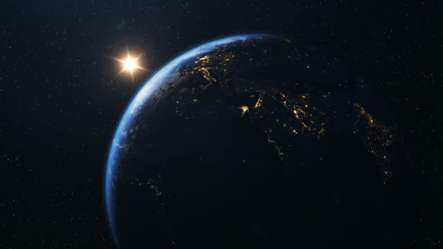 zooming into earth and europe fom space 4k - solar system stock videos & royalty-free footage