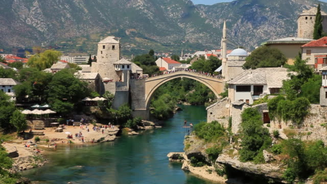 Zooming Out from Stari Most Bridge in Bosnia