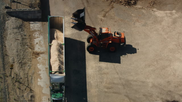 zooming out shot of a wheel loader loading sawdust into a truck - bulldozer stock videos and b-roll footage