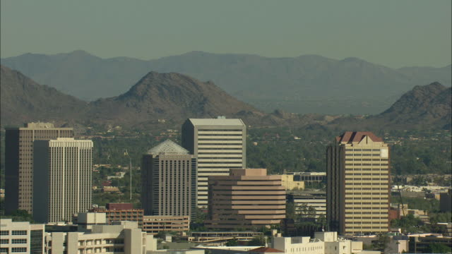 Zooming out shot of high-rise buildings in Phoenix