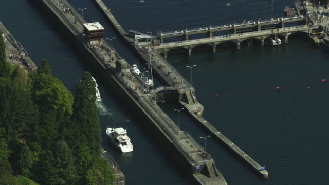 Zooming out shot of private boats entering the channels of Ballard Locks
