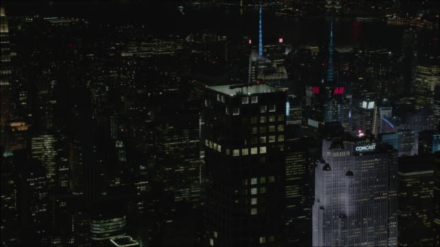 Zooming out shot of the 432 Park Avenue at night