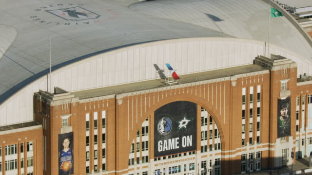 zooming out shot of the american airlines center - winter sport stock videos & royalty-free footage
