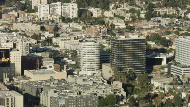 Zooming out shot of the Capitol Records building in Hollywood