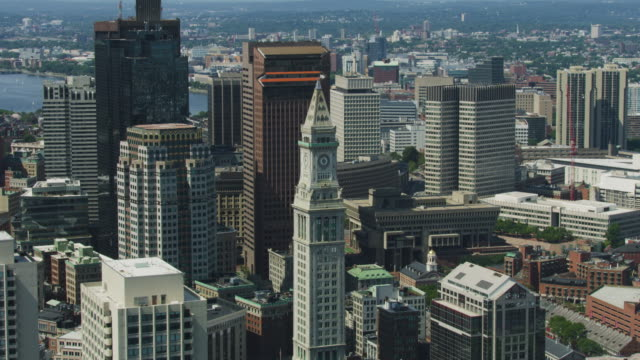 zooming out shot of the custom house tower clock - custom house tower stock videos & royalty-free footage