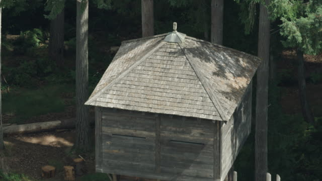 zooming out shot of the fort nisqually blockhouse - pierce county washington state stock videos & royalty-free footage