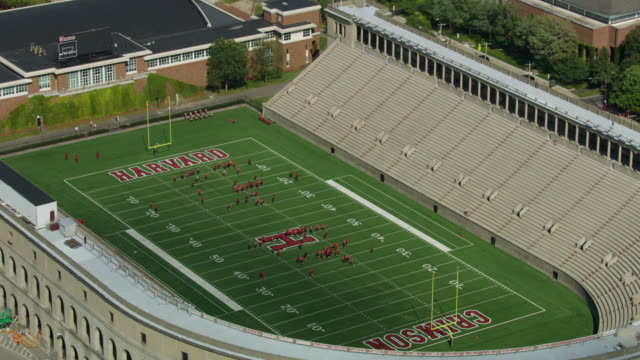 zooming out shot of the harvard stadium - anno 1903 video stock e b–roll