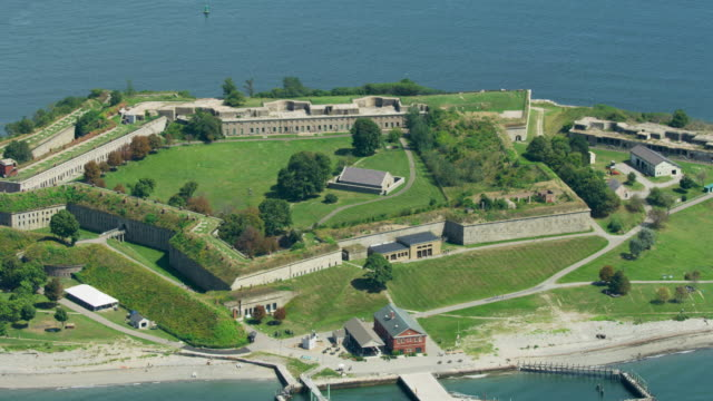 zooming out shot of the powder house at fort warren - fortress stock videos & royalty-free footage