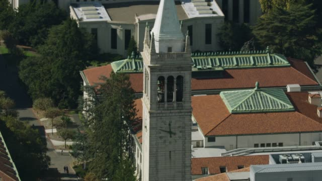 Zooming out shot of the Sather Tower