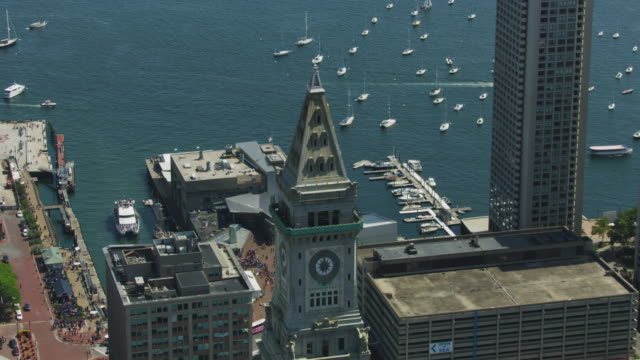 zooming out shot of the top of the custom house tower - custom house tower stock videos & royalty-free footage