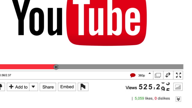Zooming shot of an animated Youtube view counter increasing showing high numbers of video views on a successful viral marketing or advertising video