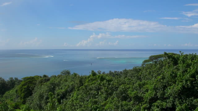 zooming-out shot of moorea bay - insel moorea stock-videos und b-roll-filmmaterial
