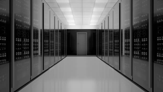 zoom-out shot of server room, black and white concept,  4k video - network server stock videos & royalty-free footage