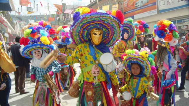 zoque coiteco carnival parade at chiapas village. mexican syncretism tradition - traditional festival stock videos & royalty-free footage