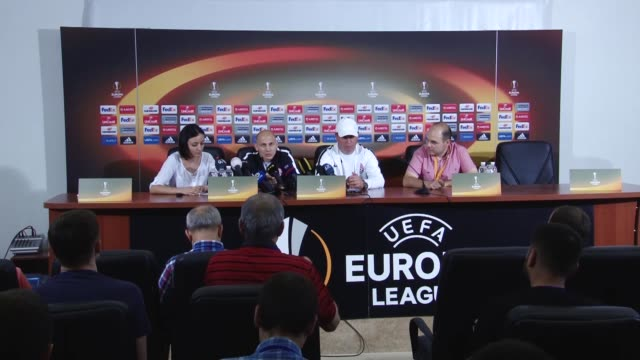 Zorya's head coach Yuriy Vernydub and defender Mykyta Kamenyuka attend a press conference a day before the UEFA Europa League Group A soccer match...