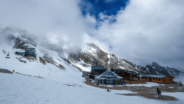 zugspitze alpine alps mountain landscape top of germany - garmisch partenkirchen stock videos & royalty-free footage