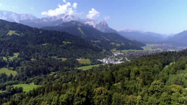 zugspitze mountain and garmisch-partenkirchen - garmisch partenkirchen stock videos & royalty-free footage