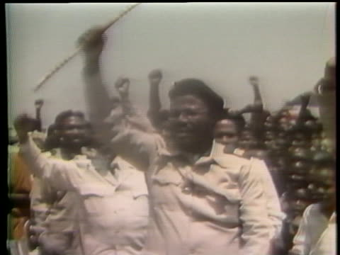 zulu tribal chief leads a demonstration challenging south africa's white government and apartheid. - white点の映像素材/bロール