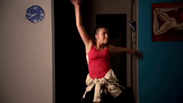 zumba dance - pulling funny faces stock videos & royalty-free footage