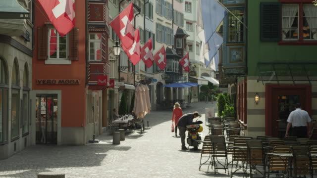 Zurich, Augustinergasse, Swiss flags