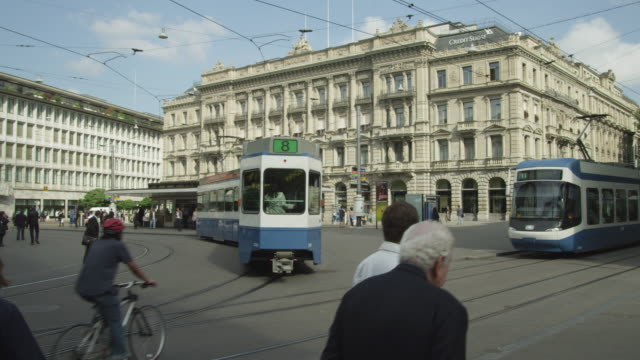 Zurich historic city center, Paradeplatz with trams