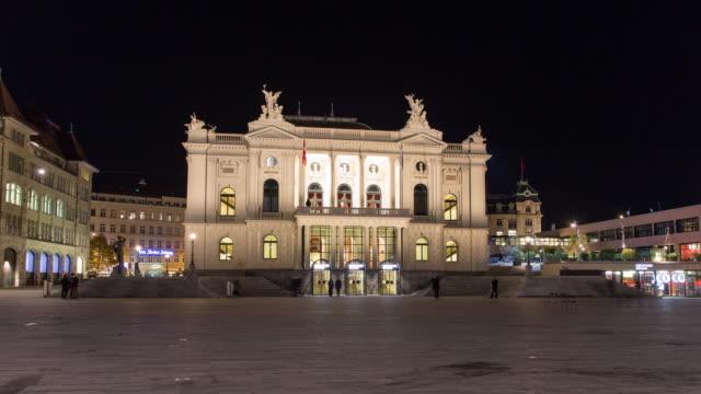 zurich opera house hyperlapse 4k - switzerland点の映像素材/bロール