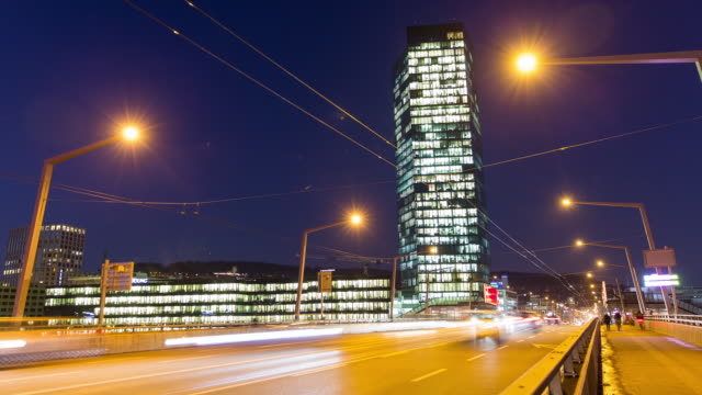zurich prime tower hyperlapse - schweiz stock-videos und b-roll-filmmaterial