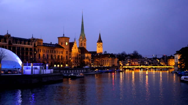 zurich skyline in switzerland at twilight - waterfront stock videos & royalty-free footage